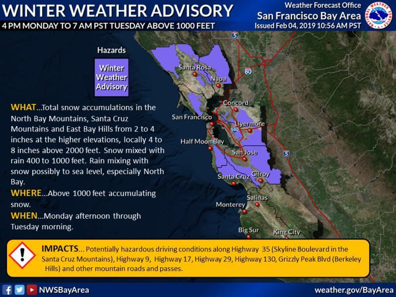 Winter Weather Advisory in Danville CA