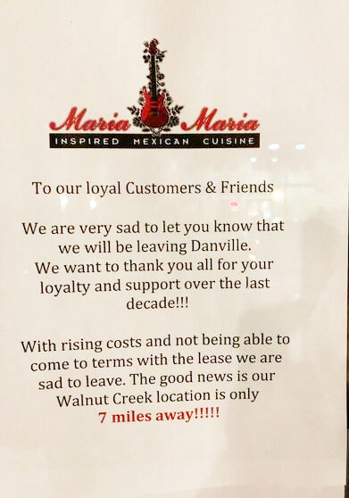 Maria Maria Danville Closed