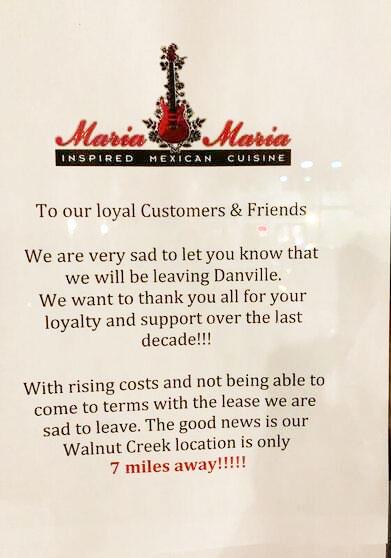 Maria Maria Danville Closed